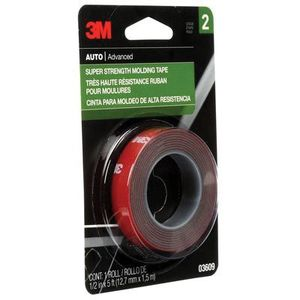 3M 3609 03609 Double Sided Super Strength Molding Tape, 5 ft x 1/2 in, 1.54 mm THK, Red