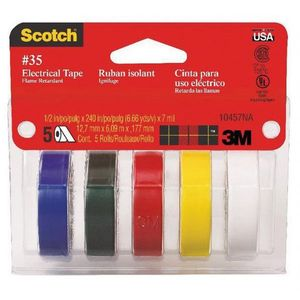 Scotch® 59073 59073 Professional Grade Color Coding Electrical Tape, 240 x 1/2 in, 7 mil THK, Red/Blue/White/Green/Yellow