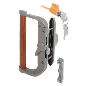 """Aluminum/Wood Hook-Style Surface Mount Handle 3-1/2"""" Screw Holes - Keyed"""