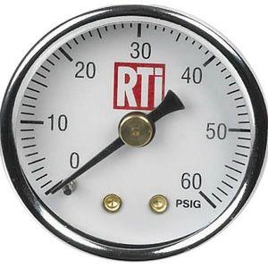 RTi PG-060-15C PG-060-15C Pressure Gauge, 1-1/2 in Dia, 0 to 60 psi, Use With: MR-1 Mini Paint Gun Regulators