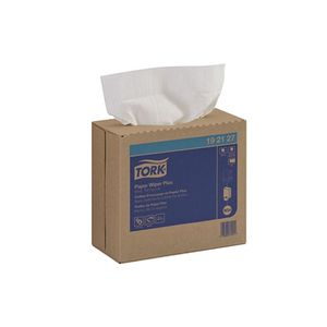 192127 Pop-Up Box Wiper Plus, 16-1/4 in L x 9-1/4 in W, 100, Paper/Double Re-Creped, White, 1 Plys
