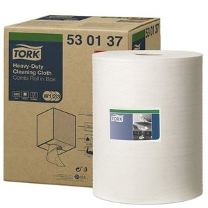 Tork® 530137 530137 Heavy Duty Centerfeed Cleaning Cloth, 9.84 in Dia x 349 ft L x 12.59 in W Roll, 280, Spunlace, White