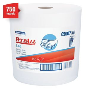 WypAll® 05007 05007 L40 Series Jumbo Roll Towel, 13.4 x 12.4 in, 750, Double Re-Creped, White, 1 Plys