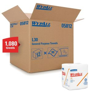 WypAll® 05812 05812 L30 Series 1/4 Fold Towel, 12 x 12-1/2 in, 90, Double Re-Creped, White, 1 Plys