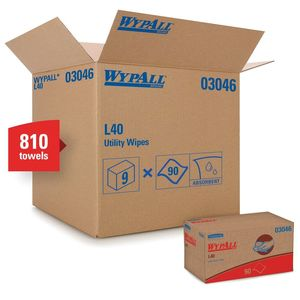 WypAll® 03046 03046 L40 Series Pop-Up Box Towel, 10 x 10.8 in, 90, Double Re-Creped, White, 1 Plys