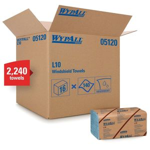 WypAll® 05120 05120 L10 Series Banded Windshield Towel, 9.3 x 10-1/4 in, 140, Paper, Blue, 2 Plys