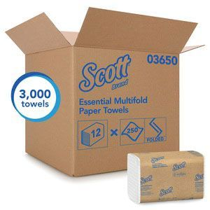 Scott™ 3650 03650 Multi-Fold Towel, 9-1/4 x 9.4 in, 250, Paper, White, 1 Plys