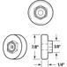 "CRL M6003 7/8"" Nylon Ball Bearing Shower Door Flat Edge Roller with Threaded Hex Hub"