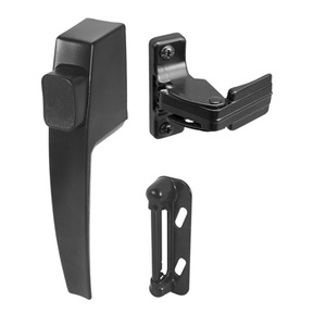"CRL K5007 Black Screen and Storm Door Push Button Latch with 1-3/4"" Screw Holes"