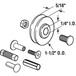 """CRL D1797 1-1/2"""" Diameter Steel Door Rollers - pack of 2"""