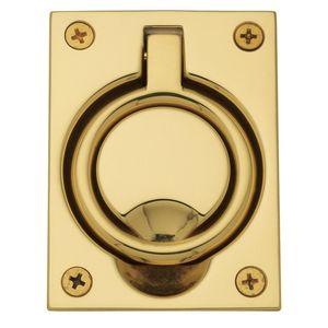 Baldwin 0395031 Flush Ring Pull Unlacquered Brass Finish