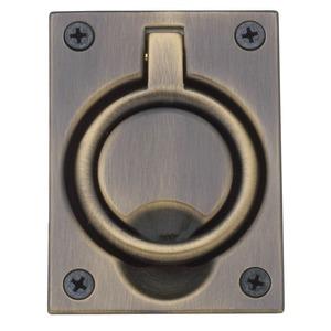 Baldwin 0395050 Flush Ring Pull Antique Brass Finish