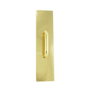 "Trimco 10133605 4"" x 16"" Square Corner Pull Plate with 5-1/2"" 1193 Pull Bright Brass Finish"