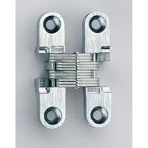 "SOSS 101C26D 3/8"" to 1-11/16"" Light Duty Invisible Hinge for 1/2"" to 5/8"" Doors Satin Chrome Finish"
