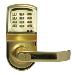 IEI Linear 212LSCUS3CRLT Left Hand Cylindrical Keypad Lock For Indoor / Outdoor and 120 Users Bright Brass Finish