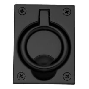 Baldwin 0395190 Flush Ring Pull Satin Black Finish