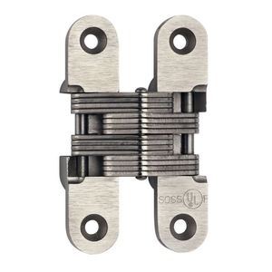 """SOSS 416US15 1"""" x 4-5/8"""" Heavy Duty Alloy Steel Fire Rated Invisible Hinge for 1-3/8"""" Doors Satin Nickel Finish"""