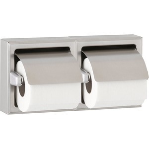 Bobrick B6997 Double Roll Recessed Toilet Tissue Dispenser with Hoods Satin Stainless Steel Finish