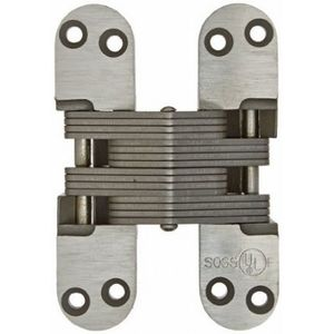 """SOSS 418SS32D 1-1/8"""" x 4-39/64"""" Heavy Duty Fire Rated Invisible Hinge for 1-3/4"""" Doors Satin Stainless Steel Finish"""