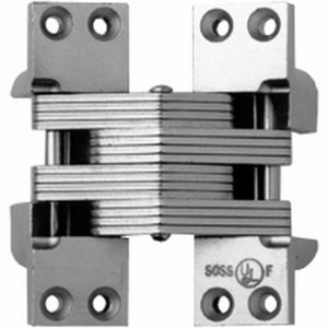 """SOSS 420US15 1-3/8"""" x 4-1/2"""" Heavy Duty Alloy Steel Fire Rated Invisible Hinge for 2"""" Doors Bright Stainless Steel Finish"""