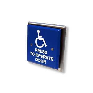 """MS Sedco 59H412SQUARE Blue Switch Press to Operate Door Wheelchair 4-1/2"""" Square"""