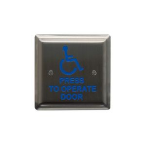 """MS Sedco 59HSS412SQUARE Stainless Steel Switch Press to Operate Door Wheelchair 4-1/2"""" Square"""