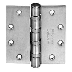 "McKinney MPB9141232D MacPro 4-1/2"" x 4-1/2"" Non Ferrous Standard Weight Five Knuckle Square Corner Ball Bearing Hinge # 76340 Satin Stainless Steel Finish"