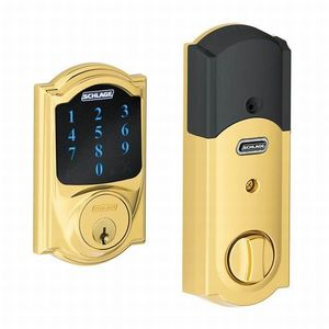 Schlage Residential BE469NX CAM 605 Camelot Electronic Touchscreen Deadbolt C Keyway with 12344 Latch and 10116 Strike Bright Brass Finish