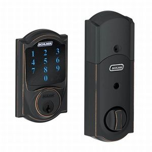 Schlage Residential BE469NX CAM 716 Camelot Electronic Touchscreen Deadbolt C Keyway with 12344 Latch and 10116 Strike Aged Bronze Finish