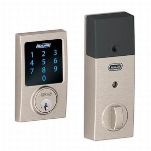 Schlage Residential BE469NX CEN 619 Century Electronic Touchscreen Deadbolt C Keyway with 12344 Latch and 10116 Strike Satin Nickel Finish