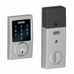 Schlage Residential BE469NX CEN 626 Century Electronic Touchscreen Deadbolt C Keyway with 12344 Latch and 10116 Strike Satin Chrome Finish