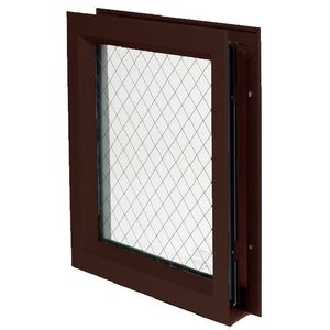 "National Guard Products LFRA100DKBWGGT11812X12 12"" x 12"" Low Profile Self Attaching Lite Kit with Wired Glass and 1/8"" Glazing Tape Dark Bronze Finish"