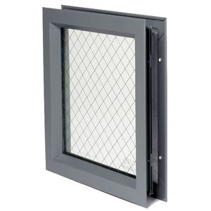 "National Guard Products LFRA100WGGT1187X22 7"" x 22"" Low Profile Self Attaching Lite Kit with Wired Glass and 1/8"" Glazing Tape Prime Coat Finish"