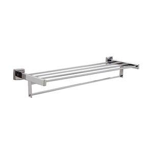 "Bobrick B67624 24"" Surface Mounted Towel Shelf with Towel Bar Satin Stainless Steel Finish"
