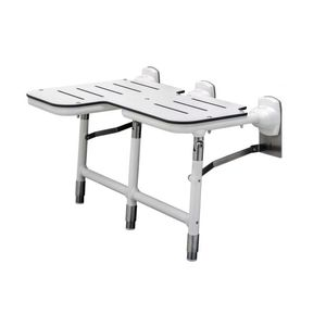 Bobrick B918116L Left Hand Bariatric Folding Shower Seat with Legs Satin Stainless Steel Finish