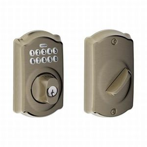 Schlage Residential BE365 CAM 620 Camelot Electronic Keypad Deadbolt C Keyway with 12287 Latch and 10116 Strike Antique Nickel Finish