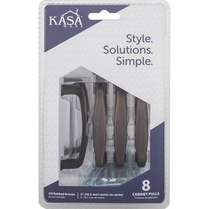 """KasaWare K1213BORB8 3-1/2"""" Cabinet Pulls with 3"""" Center to Center Brushed Oil Rubbed Bronze Finish"""