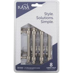 "KasaWare K2083SN8 4"" Cabinet Pulls with 3"" Center to Center Satin Nickel Finish"