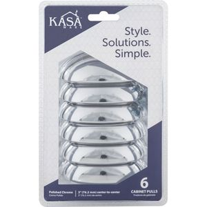 """KasaWare K3833PC6 3-7/8"""" Cabinet Pulls with 3"""" Center to Center Polished Chrome Finish"""