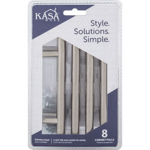 """KasaWare K39496SS8 6"""" Cabinet Pulls with 3-3/4"""" Center to Center Satin Stainless Steel Finish"""