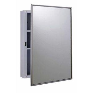 "Bobrick B297 14-1/8"" x 20-1/4"" Surface Mounted Medicine Cabinet Satin Stainless Steel Finish"