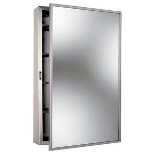 "Bobrick B299 17"" x 26-7/8"" Surface Mounted Medicine Cabinet Satin Stainless Steel Finish"