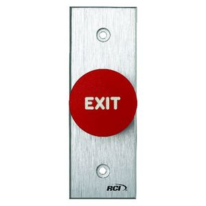 RCI 918NMO28NARROW Narrow Momentary Tamper Resistant Exit Push Button, Brushed Anodized Aluminum Finish