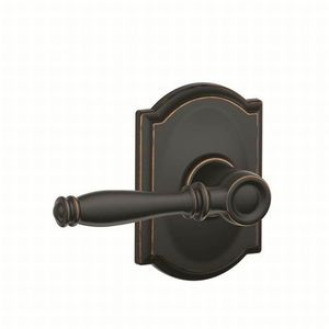 Schlage Residential F10 BIR 716 CAM Birmingham Lever with Camelot Rose Passage Lock with 16080 Latch and 10027 Strike Aged Bronze Finish